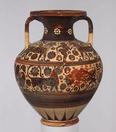 Terracotta neck-amphora (storage jar)  Period: Early Corinthian Date: ca. 620–590 B.C. Culture: Greek, Corinthian Medium: Terracotta; black-figure