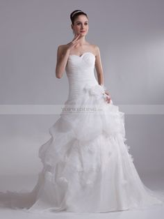 Sweetheart Organza over Satin Ball Gown with Surplice Bodice and 3D Flower