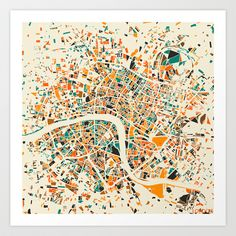 London Mosaic Map #4 Art Print by Map Map Maps - $18.00