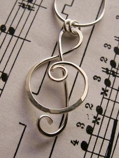 Treble Clef Pendant Sterling Silver by AUNALIArtisanMetal, $50.00