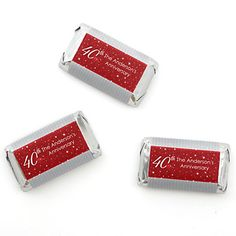 40th Anniversary - Personalized Wedding Anniversary Mini Candy Bar Wrapper Favors - 20 ct | BigDotOfHappiness.com