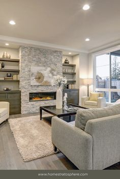 118 Modern Style Living Room Design Ideas With Fireplace (Photos)