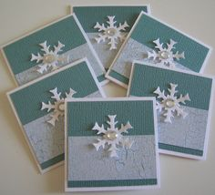 CIJ Christmas in July Mini Snowflake Cards by CoopsCraftyCorner