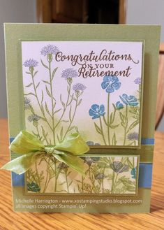 - Stampin' Up! - Wild About Flowers - Retirement Greeting Card - Seam Binding Ribbon - Pear Pizzazz - Marina Mist - Soft Suede - Wisteria Wonder Flower Stamp, Flower Cards, Sympathy Cards, Greeting Cards, Goodbye Cards, Retirement Cards, Card Maker, Scrapbook Cards, Homemade Cards