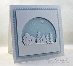 Good Sunday morning. My project today is a country village snow scene made using the Memory Box Countryside Circle paired with the My Favorite Things Mini Scallop Square Stax and a tiny star from the