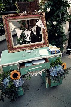 Wedding Cards & Gift Drop Off-a use for the old dresser in the basement!