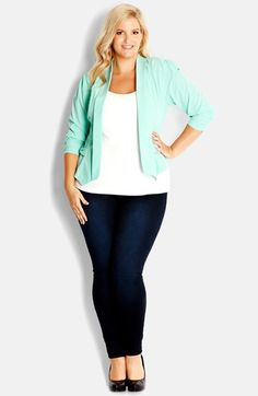 i like the whole look    City Chic Bow Pocket Jacket (Plus Size) available at #Nordstrom
