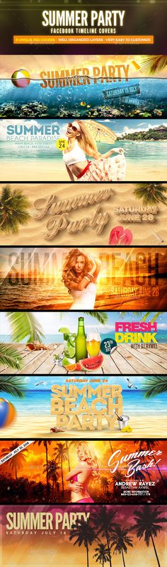 8 Summer Party Facebook Covers Template PSD #design Download: http://graphicriver.net/item/8-summer-party-facebook-covers/11533124?ref=ksioks