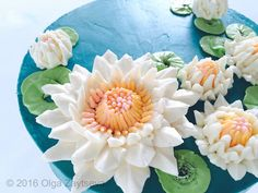 Buttercream Water Lily cake - How to make by Olga Zaytseva