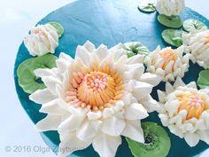 Buttercream Water Lily cake - How to make by Olga Zaytseva