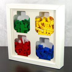 Lego Brick Storage Frame  4 Aperture Lego Head Lego Head, Cool Lego, Awesome Lego, Shadow Box Frames, Lego Brick, Hacks Diy, Aperture, Diy Projects To Try, Custom Art