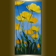 Original Poppy Poppies Floral Painting Oil on Canvas by willsonart, $125.00