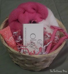 """It's A Girl"" pink prize baskets for baby shower games #diy #babyshower #Prize"