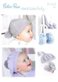 Knitted  baby pixie hat, scarf and mitts, booties, beret and bobble hat in Peter Pan Merino Baby Dk