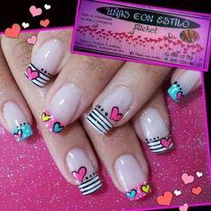 Uñas estilo francés Cute Nails, Pretty Nails, My Nails, Heart Nail Art, Heart Nails, Fingernail Designs, Toe Nail Designs, Nails Design, Pink Ombre Nails