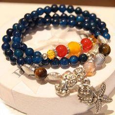 Agate Sapphire Folk Style Mixed Color Stone Starfish Bracelet