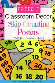 Skip Counting Classroom Posters are the perfect addition to your classroom decor. Time Saving Resources To help Your kids learn and memorize skip counting patterns.Get FREEBIE from website! Skip Counting Activities, Skip Counting By 2, Math Activities, Educational Activities, Teaching Resources, Teaching Ideas, Teacher Freebies, Classroom Freebies, Classroom Decor