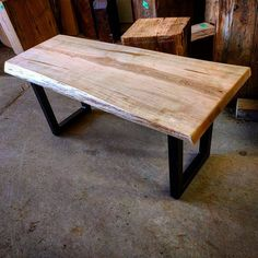 Live edge Ambrosia maple coffee table by barnboardstore.com - clear coat finished was used on this one with satin black steel legs