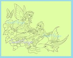 3 Digital Images/Coloring pages: Coffee Shop, Reading Time & The magic of friendship