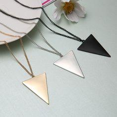New Fashion Banhado A Ouro Triângulo Longo Colares & Pingentes Mulheres Chain link Geometric Colar Feminino Jóias collier femme