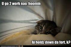 U go 2 work nao, hoomin