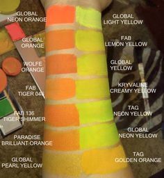 Face paint swatches.