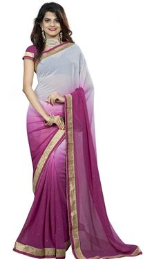 Picture of Bewitching Magenta and Off White Chiffon Saree