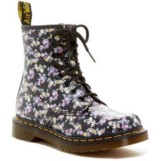 Dr. Martens 1460 Print Combat Boot ($100) ❤ liked on Polyvore featuring shoes, boots, ankle booties, ankle boots, black tyde, black booties, black leather boots, short black boots and black lace up boots