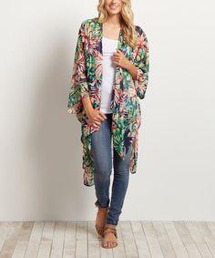 Look at this #zulilyfind! Navy Blue Tropical Kimono #zulilyfinds