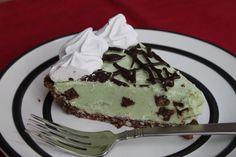 Grasshopper Pie..... mint choco ice cream, almond flour, almonds, salt, honey, coconut oil cocoa, whipped cream, chocolate chips