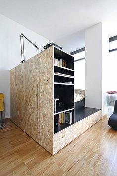 coin chambre dans salon studio meuble osb