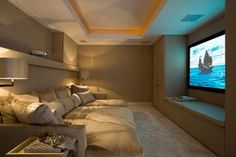 The good home theater design is a room that can be enjoyed comfortably while hanging out with family and friends. Here are some explanations about the Home Theater Room Design Ideas that can inspire you to design your Home Theatre room. Home Cinema Room, Home Theater Rooms, Home Theater Design, Home Theater Seating, Attic Theater, Cinema Room Small, Home Theater Basement, Teen Basement, Basement Studio
