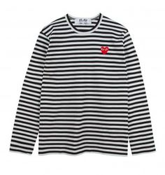Comme Des Garcons nautical inspired long sleeved tee with an all over black and white stripe pattern throughout. Also features an embroidered Play Mens Cotton T Shirts, Men's Shirts, Nautical T Shirts, Designer Clothes For Men, Online Fashion Stores, Play, Long Sleeve Shirts, Men's Clothing, Mens Tops