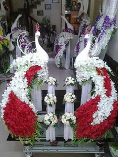 Pair peacocks with flower decor for entrance Diwali Decorations, Stage Decorations, Flower Decorations, Wedding Decorations, Wedding Arrangements, Floral Arrangements, Peacock Decor, Arte Floral, Flower Centerpieces
