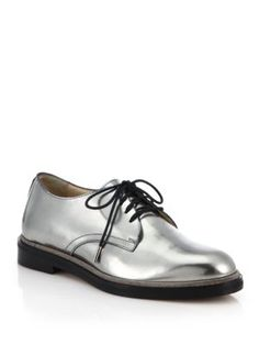 I desperately want these shoes in the Rose Gold! // Dieppa Restrepo - Cali Metallic Leather Lace-Up Oxfords - Saks.com