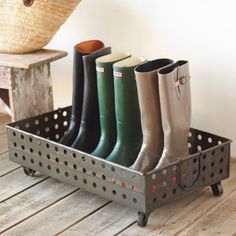 Hole Punched Galvanized Steel Rolling Boot Tray & DIY Boot Tray with River Rocks- Perfect this time of year with all ...