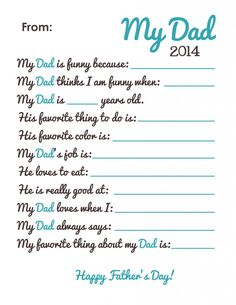 Free Fathers Day Printable for 2014