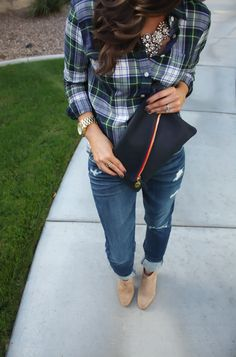 Cute fall outfit | sparkles, plaid, boyfriend jeans & booties
