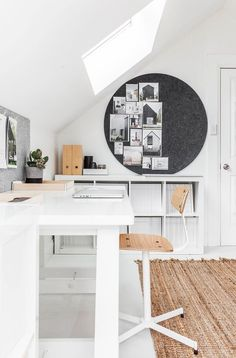 White, wooden brown and grey workspace