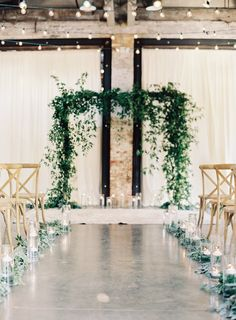industrial wedding ceremony decoration ideas with greenery garlands aisle and arches ceremony decorations Greenery Wedding Garland Decoration Ideas Indoor Wedding Arches, Indoor Wedding Ceremonies, Wedding Ceremony Arch, Indoor Ceremony, Wedding Aisle Decorations, Wedding Altars, Garland Wedding, Wedding Centerpieces, Wedding Ideas