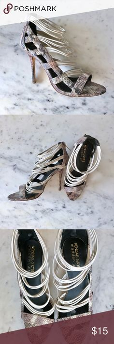 Kendall & Kylie Madden Girl 'Danila' Heels, size 9 Strappy iridescent snakeskin heels by Kendall & Kylie for Madden Girl. Features a zip up back and cage design on the outer side of the foot. Only worn once, but has damage from sticking comfort inserts. Bottom of shoes mildly dirty (worn on NYE!) Madden Girl Shoes Heels