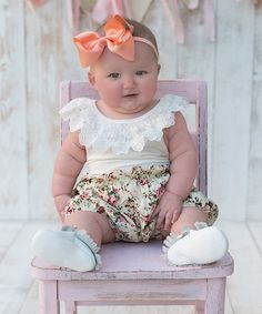 Look at this Ivory Floral Country Girl Romper - Infant on #zulily today!