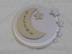 faire-part rond lune et étoiles (modéle Sélène) en 3D, cercles concentrique…