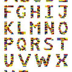 Alphabet in Lego Photographic Prints by Addison modern kids decor. for the playroom Alphabet Poster, Alphabet Charts, Abc Poster, Legos, Lego Letters, Alphabet Letters, Lego Bathroom, Modern Kids Decor, Lego Wedding