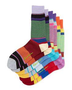 Robert Graham Energy 3-Pack Stripe Socks, Black/Gray/Yellow