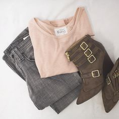 Make basics more interesting with fun accessories like these brown ankle boots! #freestylefind #fashion #style #ootd