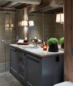 Krista ceramic tile in bathroom Basement Inspiration, Bathroom Design Inspiration, Chalet Interior, Building A Cabin, Cabin Bathrooms, Montana Homes, Toilet Design, Lodge Decor, Cabin Interiors