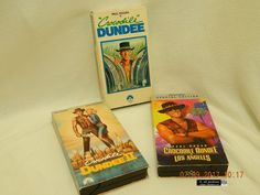 CROCODILE DUNDEE (1, 2 & 3)! THREE VHS TAPES! 86, 88, '01! ALL PLAY WELL! AS IS!