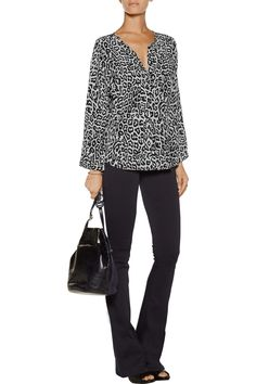 JoiePurine leopard-print silk topfront