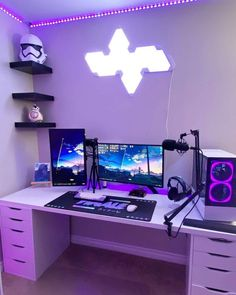 Dope or nope? 🤔 Comment down below⬇️ 📸 Via 930rgia Check out gamingapt300.com for accessories, decor, and posters for your gaming room!  #gamer #gaming #geforce #razer #pc #gamingpc #pcsetup #funkopop #pcmr #pcmasterrace #instatech #watercooling #gamingislife #gamingcommunity #gamerforlife #nvidia #rgb #twitchstream #popfunko #ps4 #gaminglife #watercooled #monitor #streamer #twitchstreamer #pcgaming #gamingsetups #gamingsetup #pcgamer #gamerpc Best Gaming Setup, Gaming Room Setup, Pc Setup, Desk Setup, Cool Gaming Setups, Home Studio Setup, Bedroom Setup, Go Wallpaper, Game Room Design